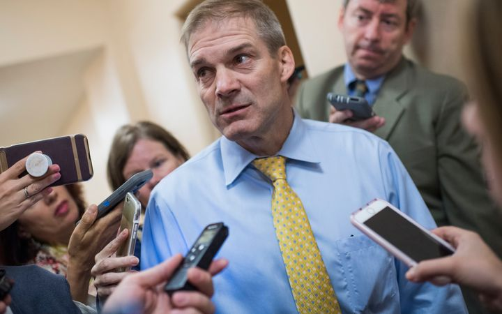 Rep. Jim Jordan (R-Ohio) speaks with reporters after a meeting at the House Republican Conference on June 26, 2018.