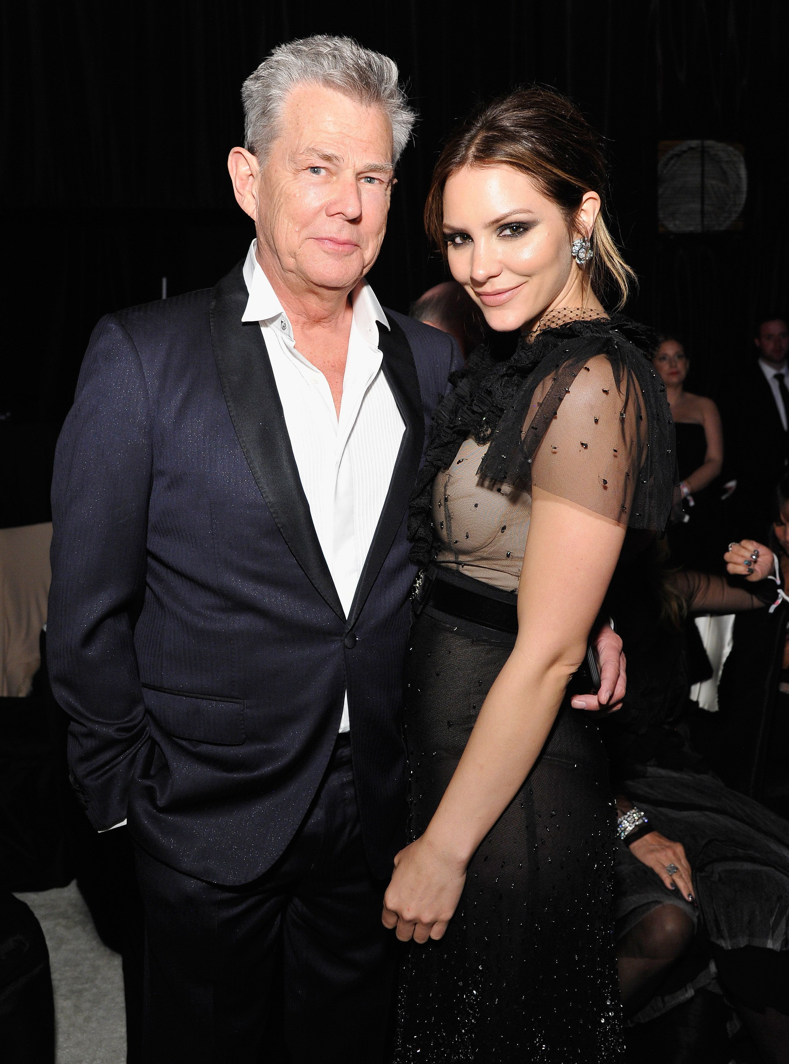 David Foster and Katharine McPhee attend the 26th annual Elton John AIDS Foundation Academy Awards in 2018.