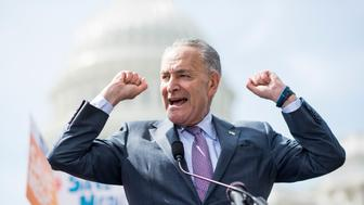 UNITED STATES - SEPTEMBER 26: Senate Minority Leader Chuck Schumer, D-N.Y., speaks during the Senate Democrats' news conference at the Capitol with disability advocates to oppose the Republicans' Graham-Cassidy health care bill  on Tuesday, Sept. 26, 2017. (Photo By Bill Clark/CQ Roll Call)