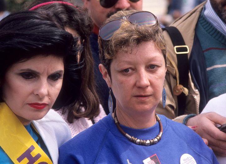 "Norma McCorvey, seen at a women's equally rally in Washington in 1989, was the ""Jane Roe"" plaintiff in the historic case. She"