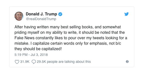 A screenshot of Trump's tweet before the message was deleted and retweeted without the typo.