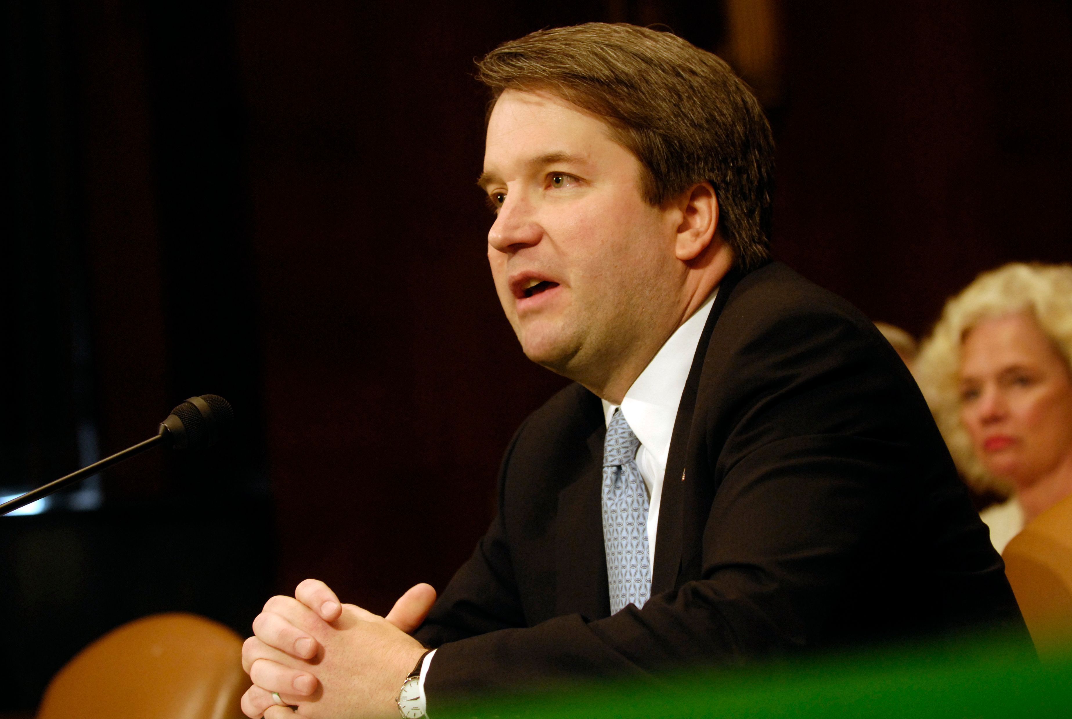 Brett Kavanaugh testifies at a Senate Judiciary Committee hearing on his nomination to be a federal circuit
