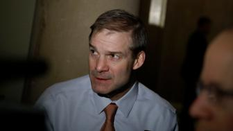 WASHINGTON, DC - JANUARY 18: Rep. Jim Jordan (R-OH) speaks with reporters at the U.S. Capitol January 18, 2018  in Washington, DC. Congress is working to avoid a government shutdown ahead of a midnight Friday deadline. (Photo by Aaron P. Bernstein/Getty Images)