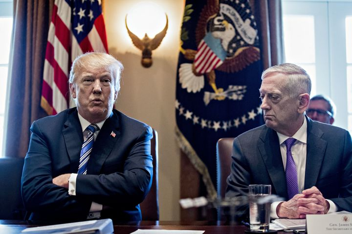 President Donald Trump and Jim Mattis, U.S. secretary of defense, during a cabinet meeting at the White House in Washington, D.C., on March 8, 2018.