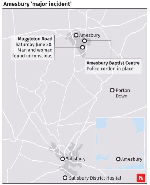 A map in Amesbury showing where the pair were found and the church event they