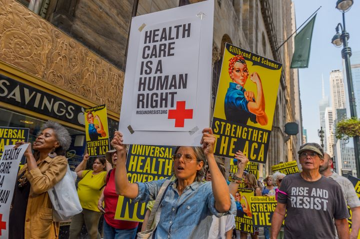 Health care activists march in New York in September 2017.