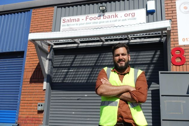 Imran Hameed outside his foodbank unit in