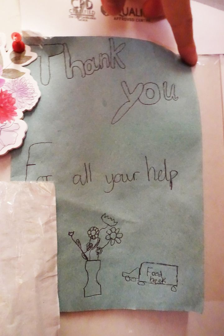 A card from one of the children helped by the foodbank - made using a paper towel.