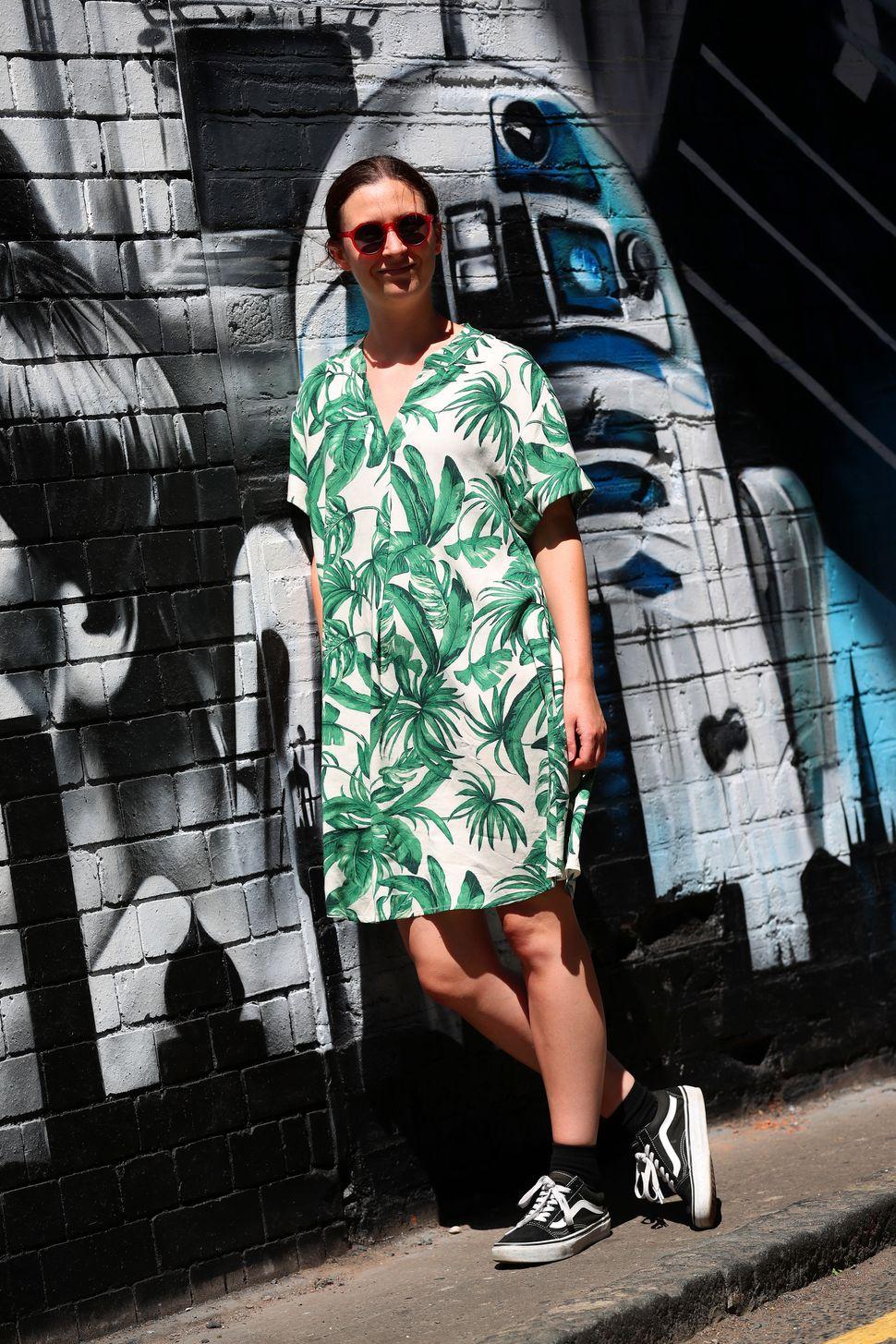 Becky Dore wears a botanical