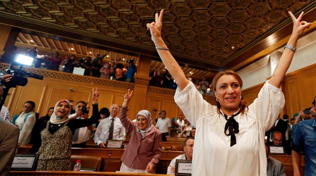 Souad Abderrahim celebrates after being elected as mayor of Tunis, the capital of Tunisia,