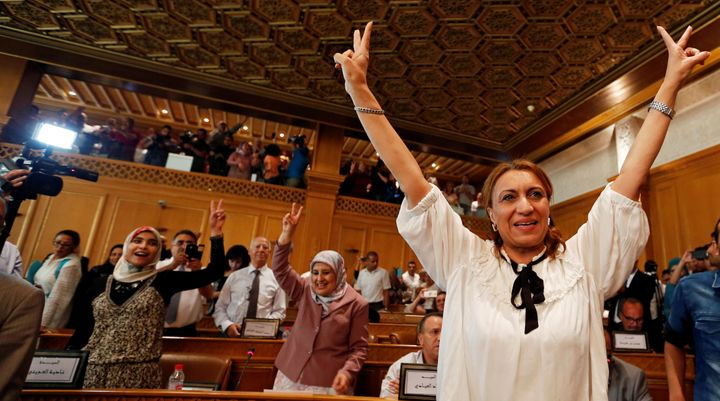 Souad Abderrahim celebrates after being elected as mayor of Tunis, the capital of Tunisia, on Tuesday.