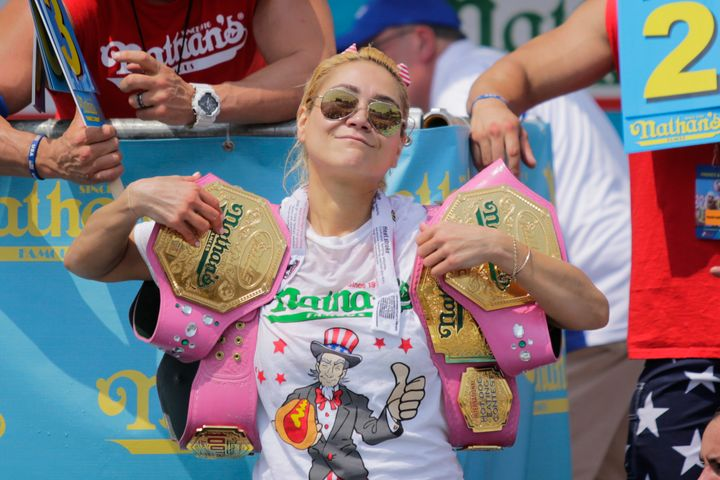 Miki Sudo celebrates after winning the women's annual Nathan's Hot Dog Eating Contest on July 4.