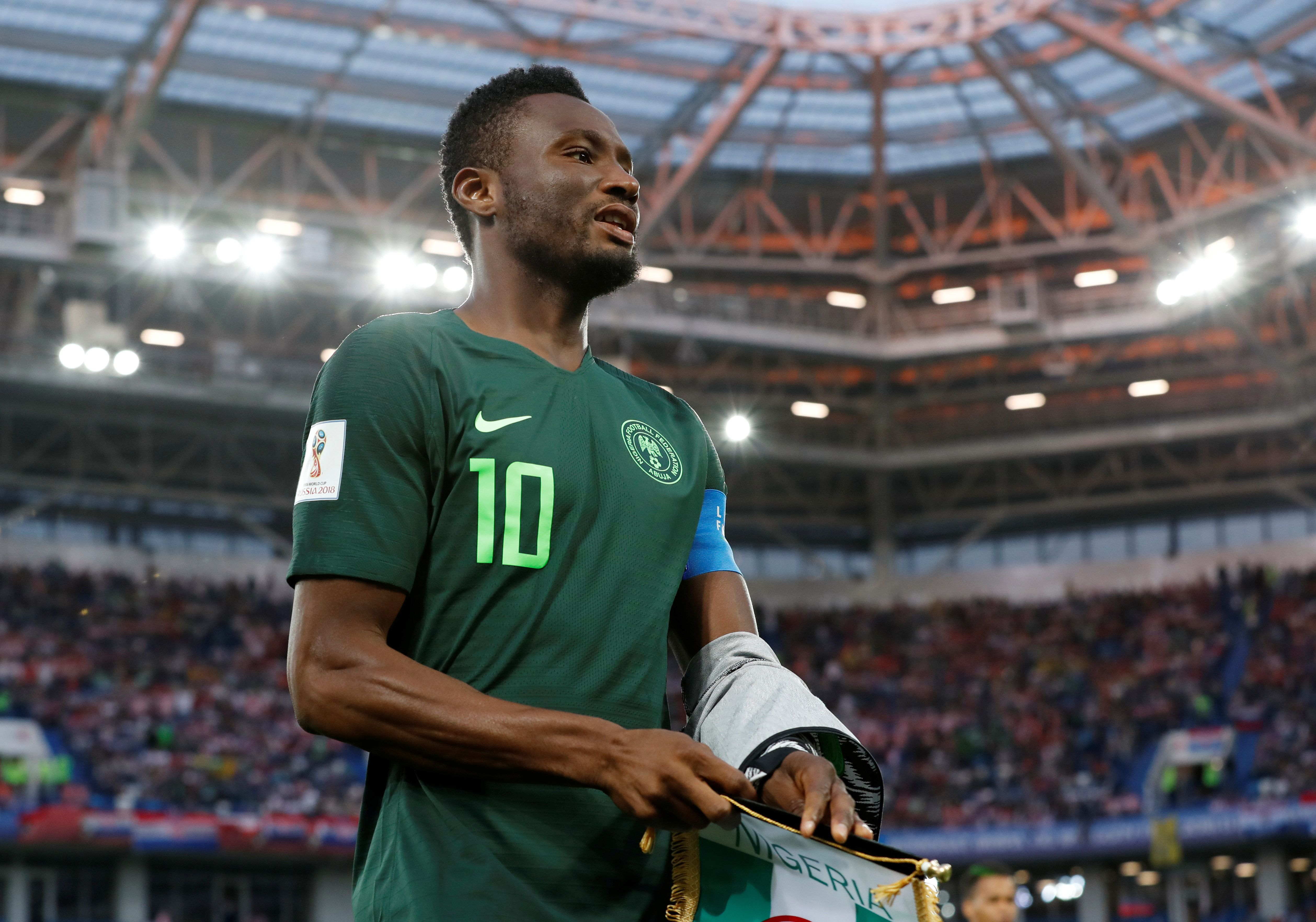 Soccer Football - World Cup - Group D - Croatia vs Nigeria - Kaliningrad Stadium, Kaliningrad, Russia - June 16, 2018   Nigeria's John Obi Mikel before the match        REUTERS/Matthew Childs