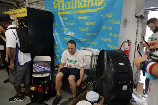 Joey Chestnut rests before the contest.