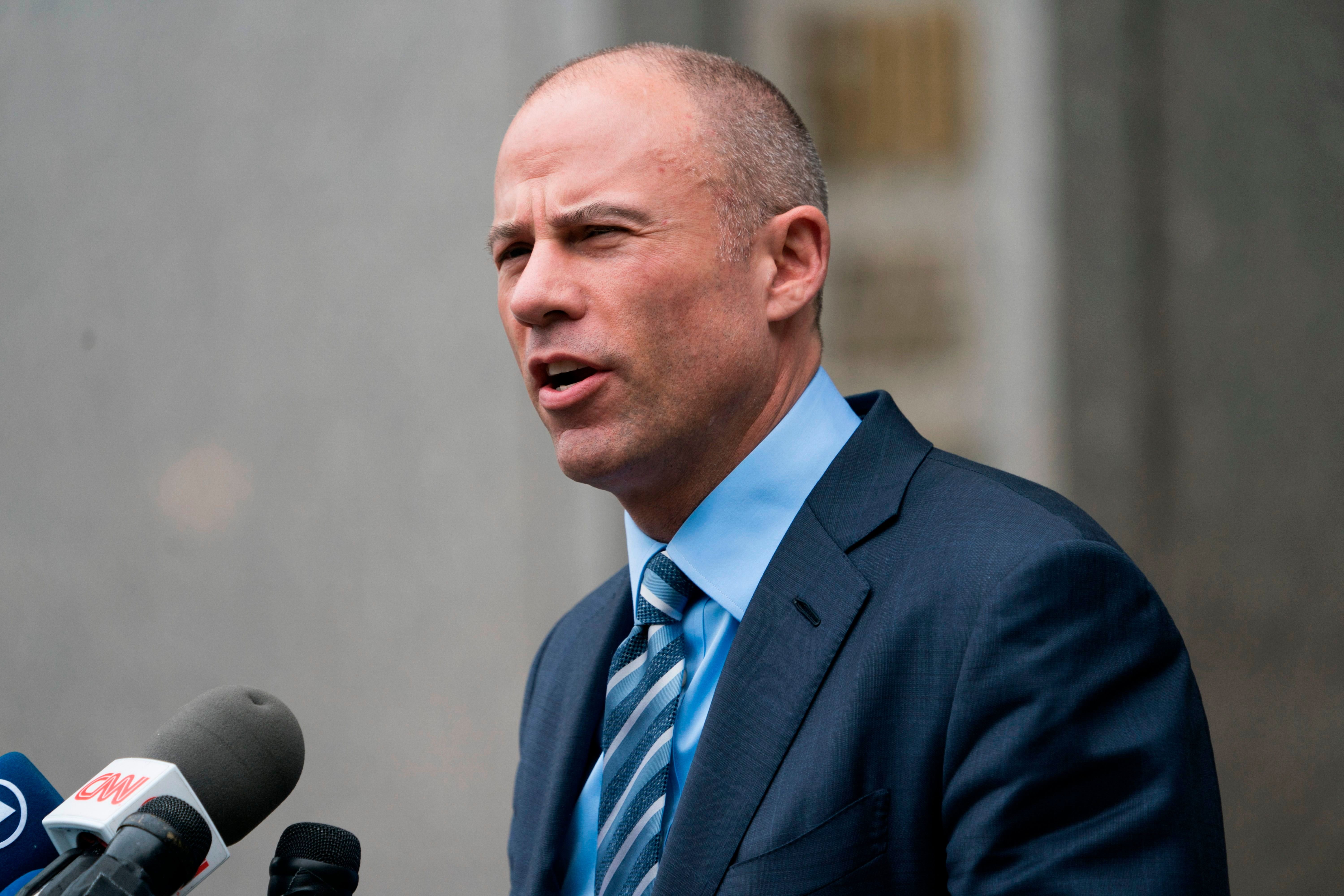 Michael Avenatti speaks to the press as he leaves at the United States District Court Southern District of New York on May 30, 2018 in New York City. - According to a filing submitted to the court Tuesday night by special master Barbara Jones, federal prosecutors investigating Michael Cohen are set to receive 1 million files from three of his cellphones that were seized last month. (Photo by Don EMMERT / AFP)        (Photo credit should read DON EMMERT/AFP/Getty Images)