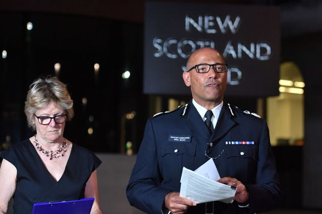 The UK's head of counter-terrorism policing Neil Basu and chief medical officer for England Dame Sally Davies speaking at a news conference.