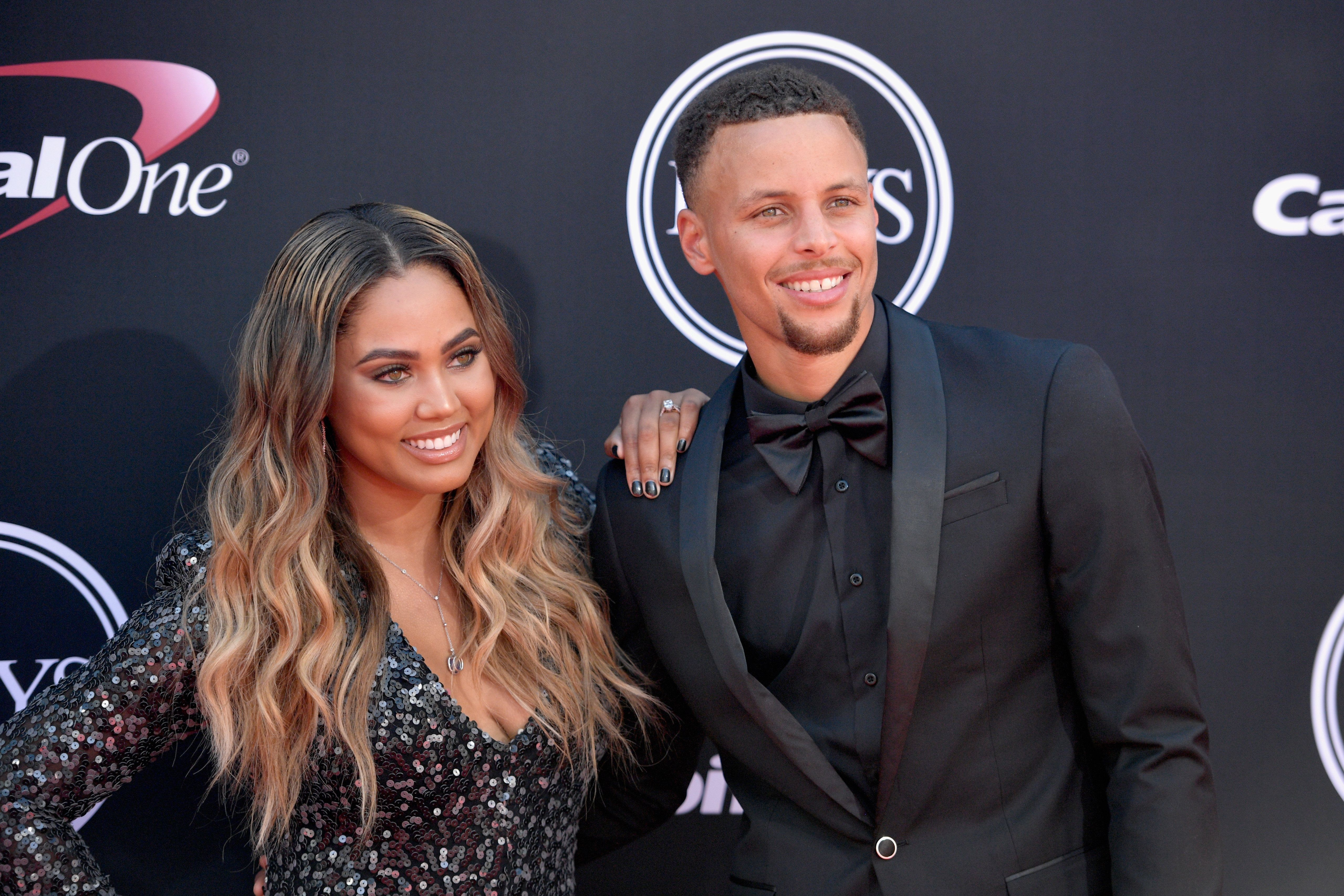 LOS ANGELES, CA - JULY 12:  NBA player Steph Curry (R) and Ayesha Curry attend The 2017 ESPYS at Microsoft Theater on July 12, 2017 in Los Angeles, California.  (Photo by Matt Winkelmeyer/Getty Images)