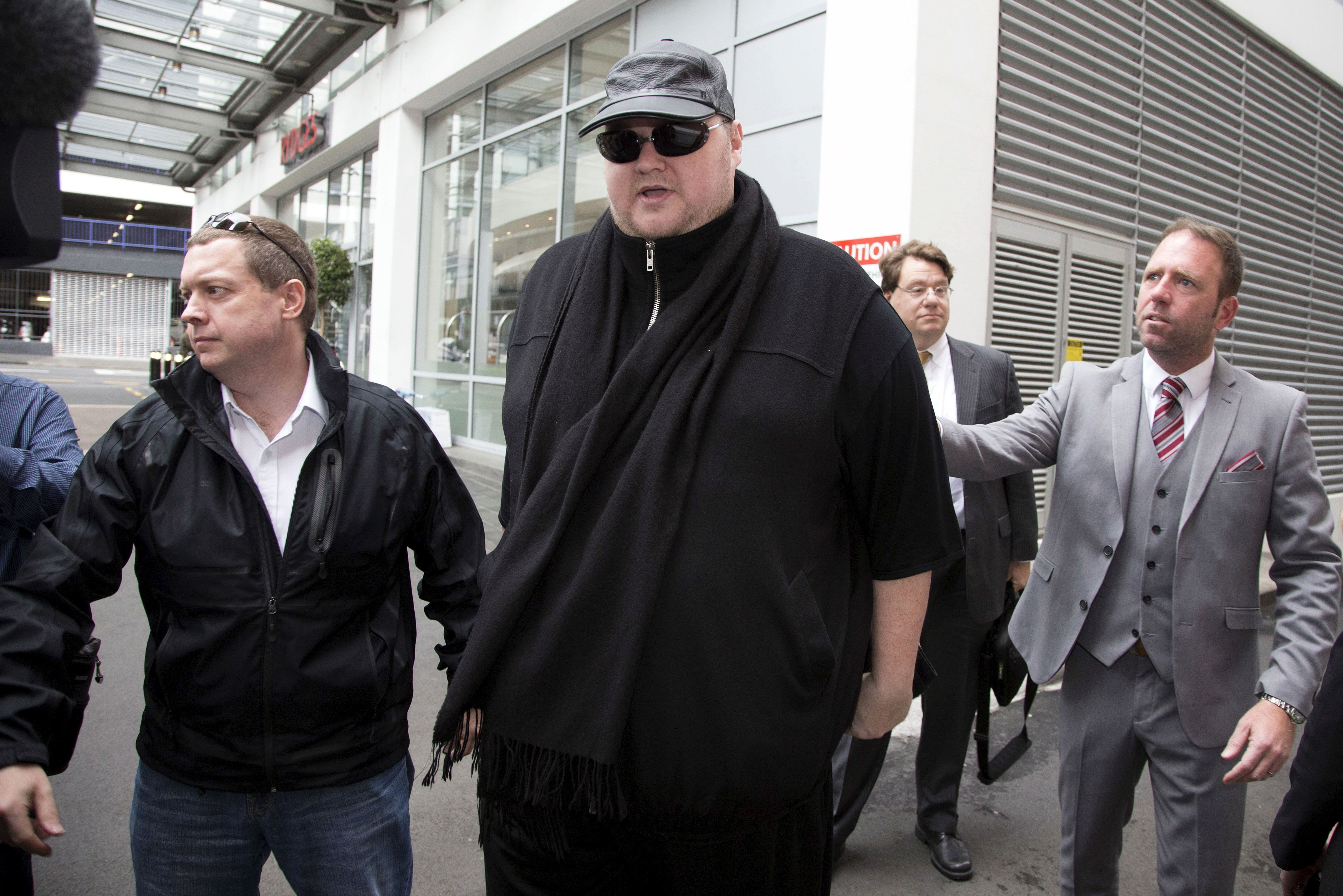 German tech entrepreneur Kim Dotcom arriving for a court hearing in Auckland, New Zealand, September 24, 2015.