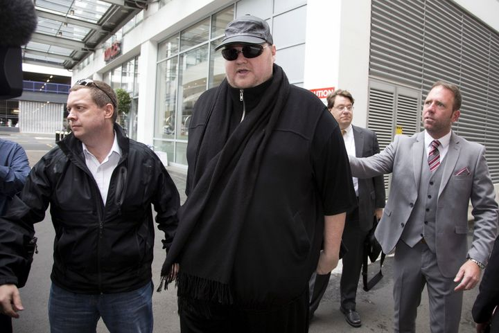 German tech entrepreneur Kim Dotcom arriving for a court hearing in Auckland, New Zealand, September 24, 2015.