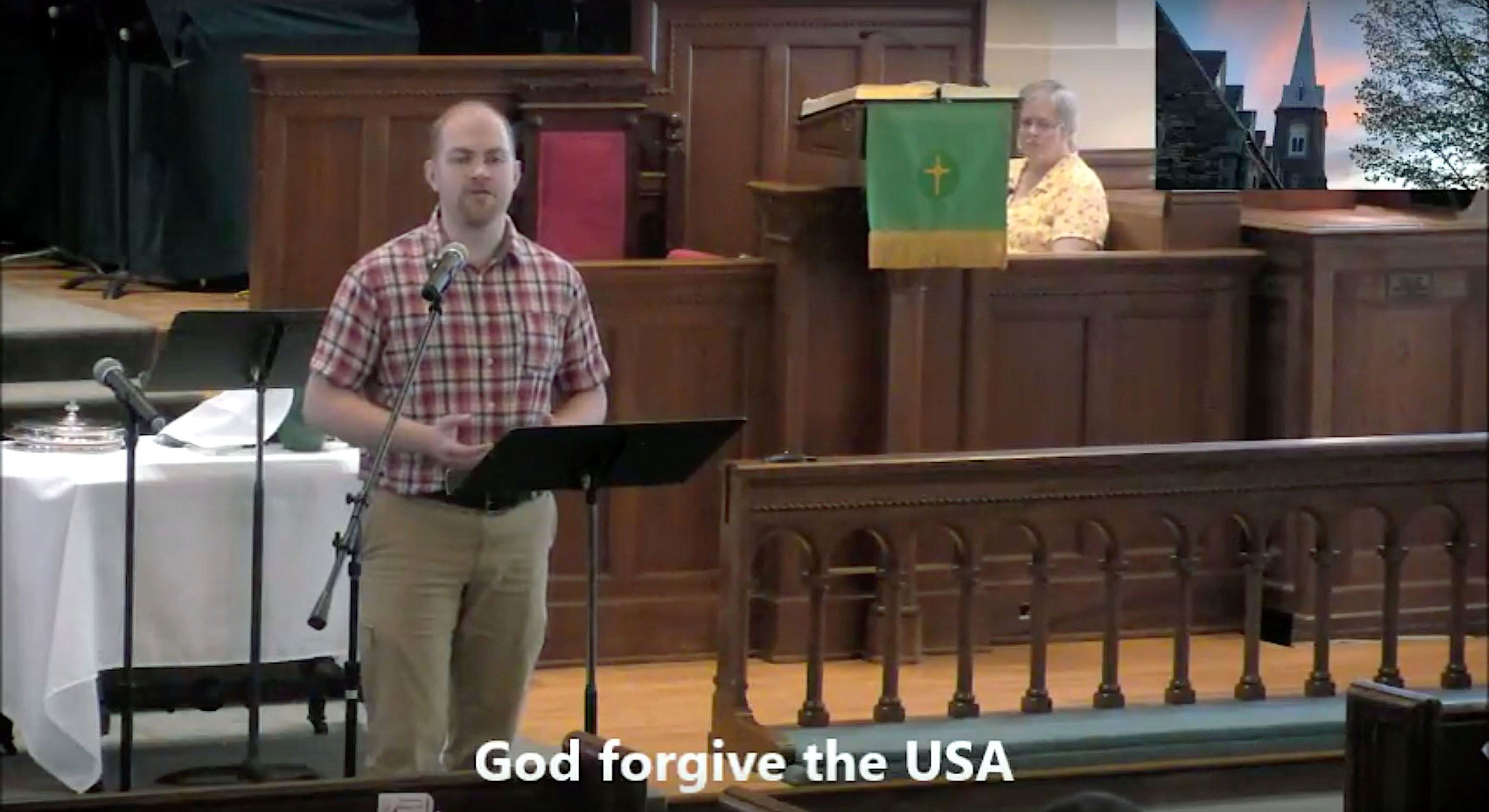 Adam Hall minister of music and media at the First United Methodist Church in Burlington Vermont rewrote the lyrics to God Bless the USA