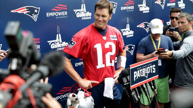 FOXBOROUGH, MA - JUNE 7: New England Patriots quarterback Tom Brady speaks to the media after  Patriots minicamp at the Gillette Stadium practice facility in Foxborough, Mass., on June 7, 2018. (Photo by Jonathan Wiggs/The Boston Globe via Getty Images)