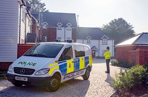 Police remain at the house in Muggleton Road in Amesbury, Wiltshire, where counter-terrorism officers...