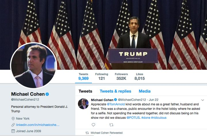 A screenshot of Michael Cohen's Twitter page from June 27.