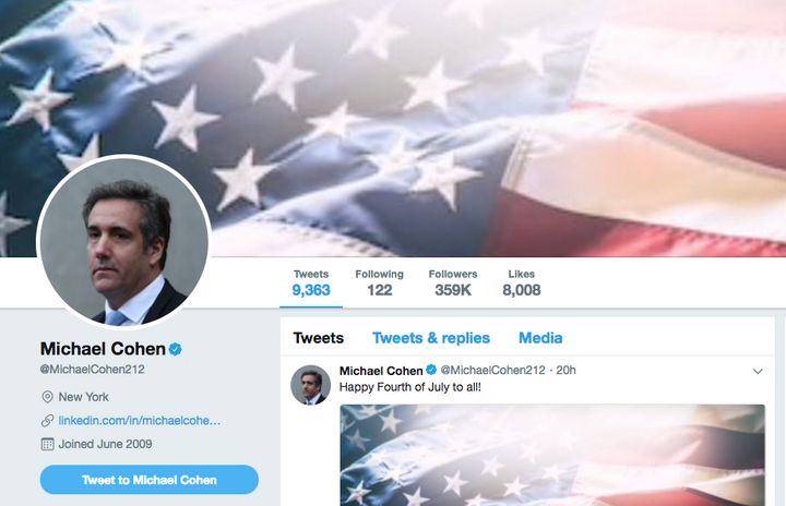 A screenshot of Michael Cohens Twitter page on July 5.