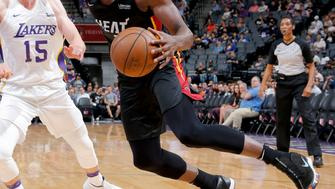 SACRAMENTO, CA - JULY 3: Bam Adebayo #13 of the Miami Heat handles the ball against the Los Angeles Lakers during the 2018 California Classic Summer League on July 3, 2018 at Golden 1 Center in Sacramento, California. NOTE TO USER: User expressly acknowledges and agrees that, by downloading and or using this Photograph, user is consenting to the terms and conditions of the Getty Images License Agreement. Mandatory Copyright Notice: Copyright 2018 NBAE (Photo by Rocky Widner/NBAE via Getty Images)