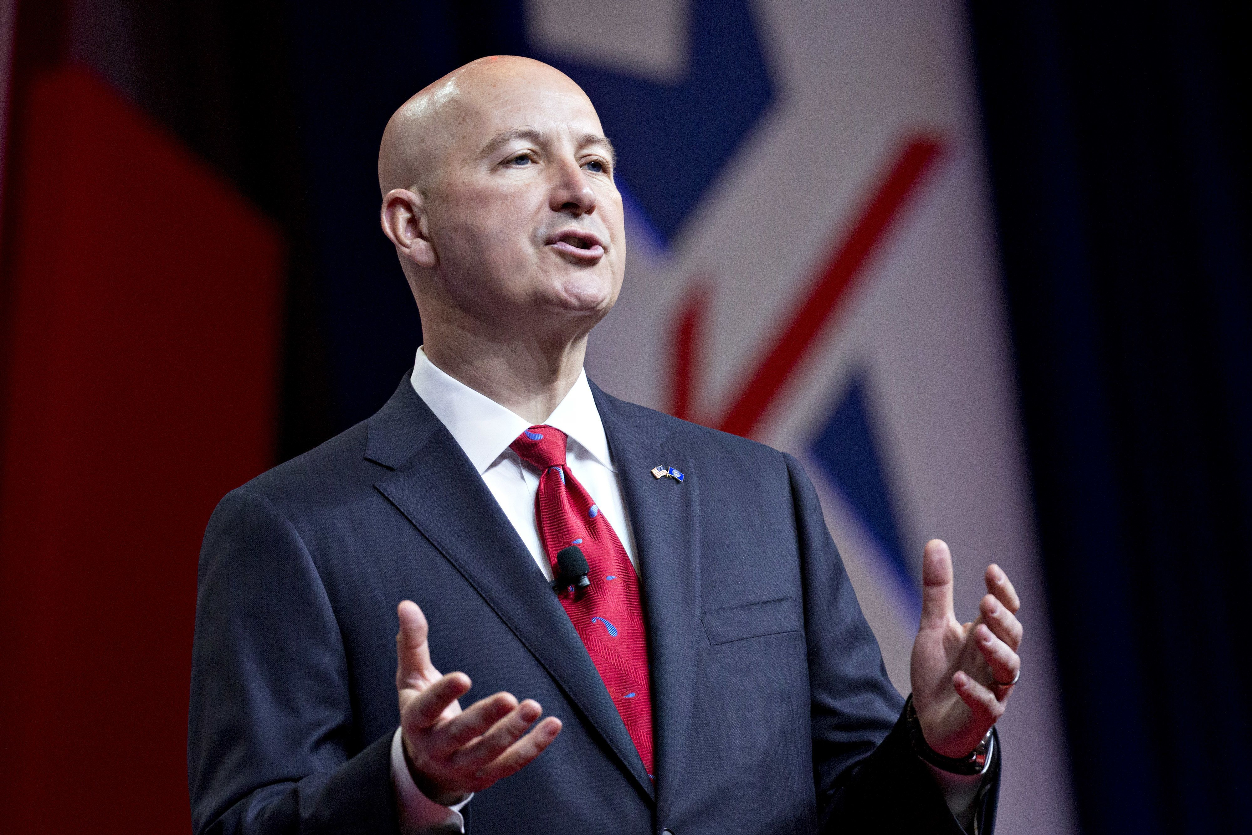 Pete Ricketts, governor of Nebraska, speaks during the SelectUSA Investment Summit in National Harbor, Maryland, U.S., on Thursday, June 21, 2018. The investment summit is dedicated to promoting foreign direct investment (FDI) in the United States and brings together companies from all over the world to facilitate business investment in America. Photographer: Andrew Harrer/Bloomberg via Getty Images