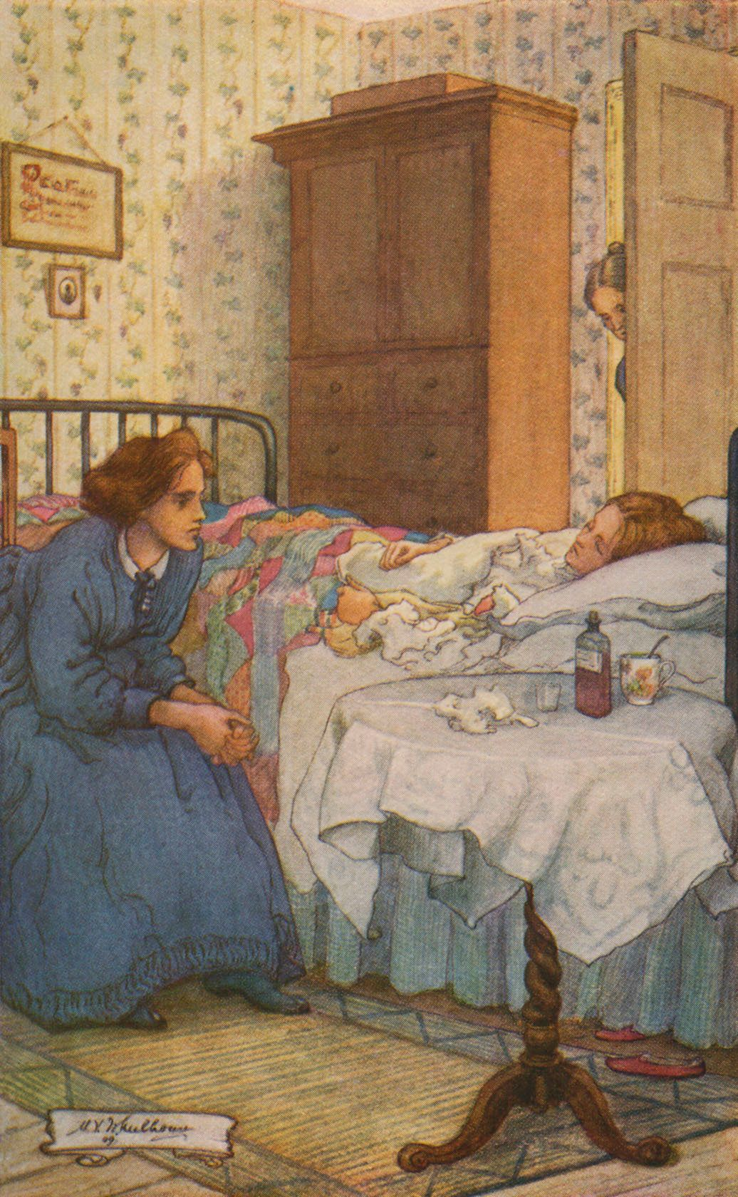 Jo at Beth's sickbed, in a <i>Little Women</i> illustration by M.V. Wheelhouse.