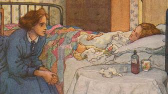 Little Women by Louisa M Alcott. Illustrations by M V Wheelhouse (1895-1933). Caption reads: Jo never stirred from Beth's side (chapter 18). Louisa May Alcott (November 29 1832 – March 6 1888).  (Photo by Culture Club/Getty Images) *** Local Caption ***