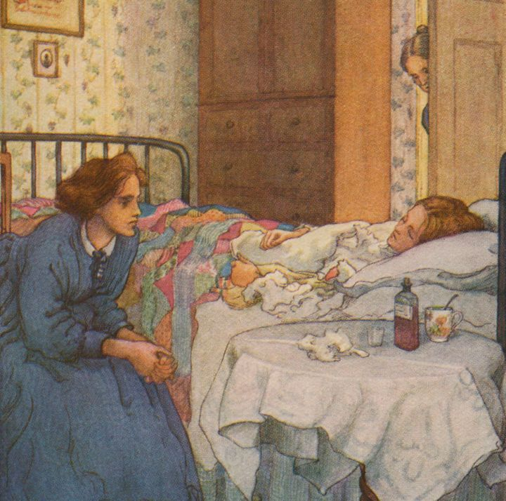 Jo at Beth&rsquo;s sickbed, in a <i>Little Women</i> illustration by M.V. Wheelhouse.