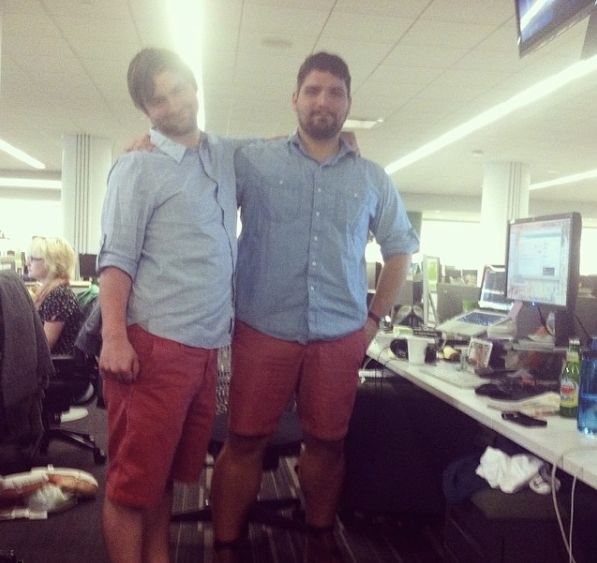 Andy Campbell (left) and Andres Jauregui wear the red shorts and blue shirts that started it