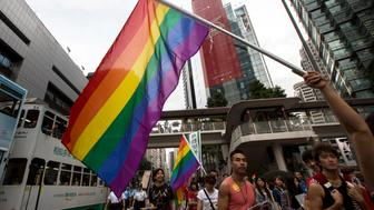 A participant holds a rainbow flag during the annual gay pride parade in Hong Kong November 9, 2013. Participants from lesbian, gay, bisexual and transgender communities took to the street on Saturday to demonstrate for their rights.  REUTERS/Tyrone Siu (CHINA - Tags: POLITICS CIVIL UNREST)