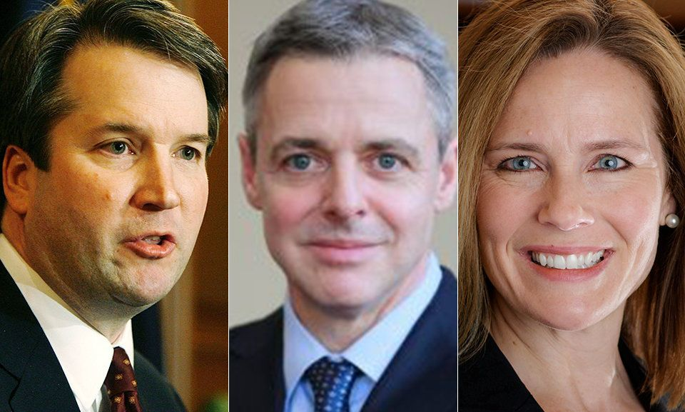 From left Brett Kavanaugh Raymond Kethledge and Amy Coney Barrett