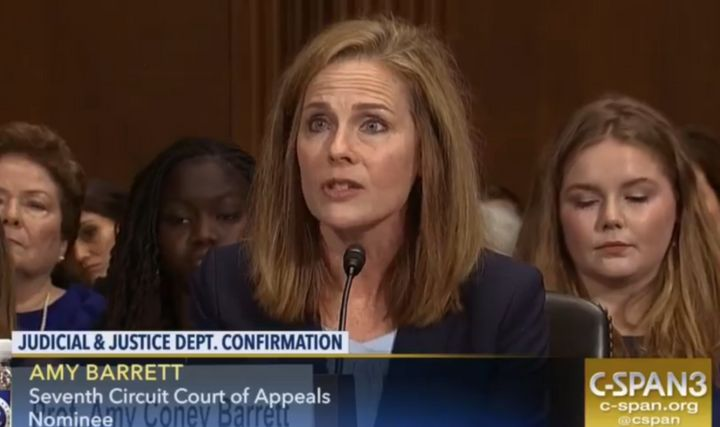 Amy Coney Barrett at her Senate confirmation hearing in 2017.
