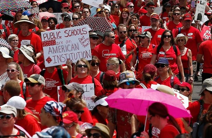 Arizona teachers striking in April.