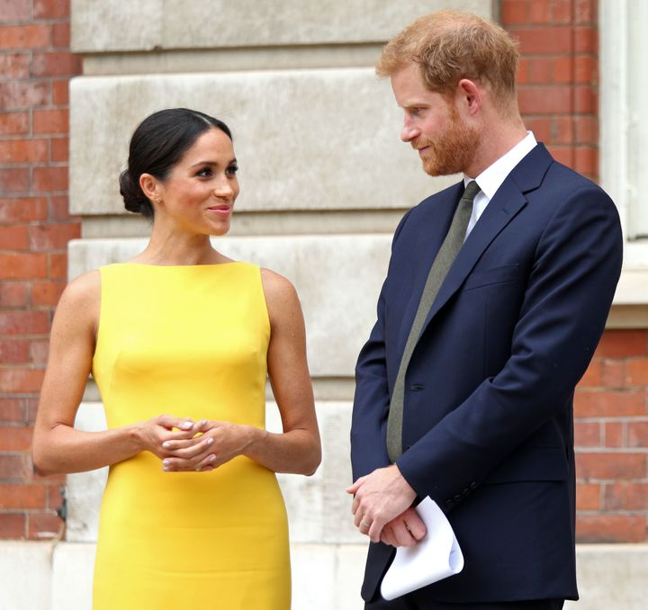 4d1d4e82ff The Duchess of Sussex in a dress fit for summer (and Britain s current  heatwave)