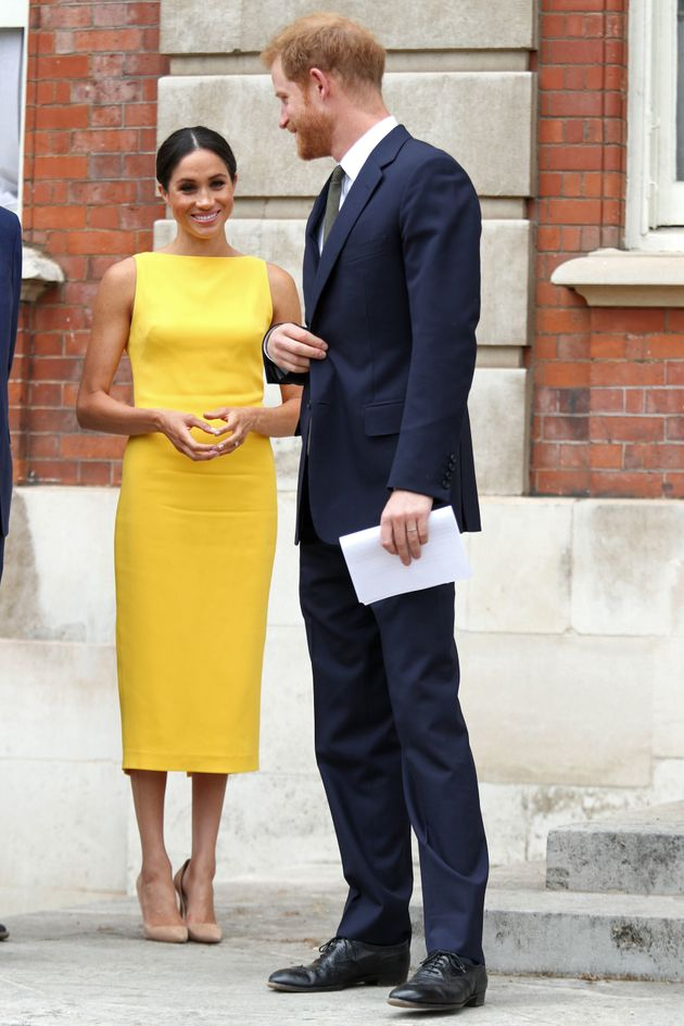 Prince Harry, Duke of Sussex, and Meghan, Duchess of Sussex arrive to attend a reception in London on