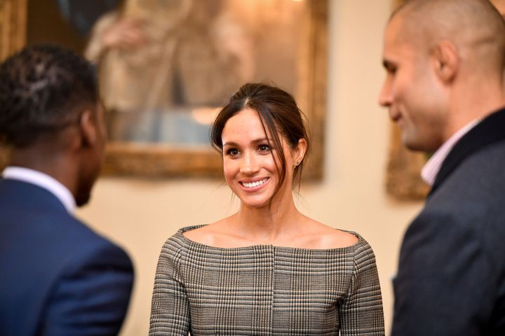 Markle chats with people in Cardiff Castle on Jan. 18.