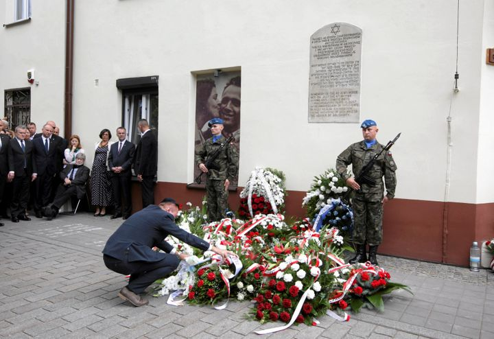 Officials take part ina July 4, 2016, ceremony to remember a 1946 massacre of Jews in Kielce, Poland.