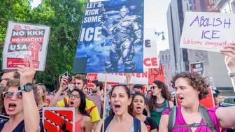 FOLEY SQUARE, NEW YORK, UNITED STATES - 2018/06/29: The NYC Democratic Socialists of America organized the march to #AbolishICE. The march began at City Hall, walk past the Attorney Generals Office, and end at 26 Federal Plazathe site of ICEs Enforcement Removal Operations Office. (Photo by Erik McGregor/Pacific Press/LightRocket via Getty Images)