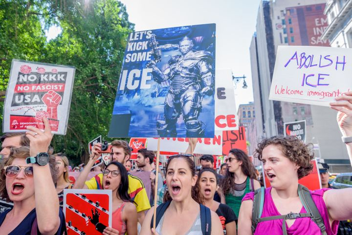 "The Democratic Socialists of America march to ""Abolish ICE"" in New York City on June 29. Mainstream Democrats are increa"