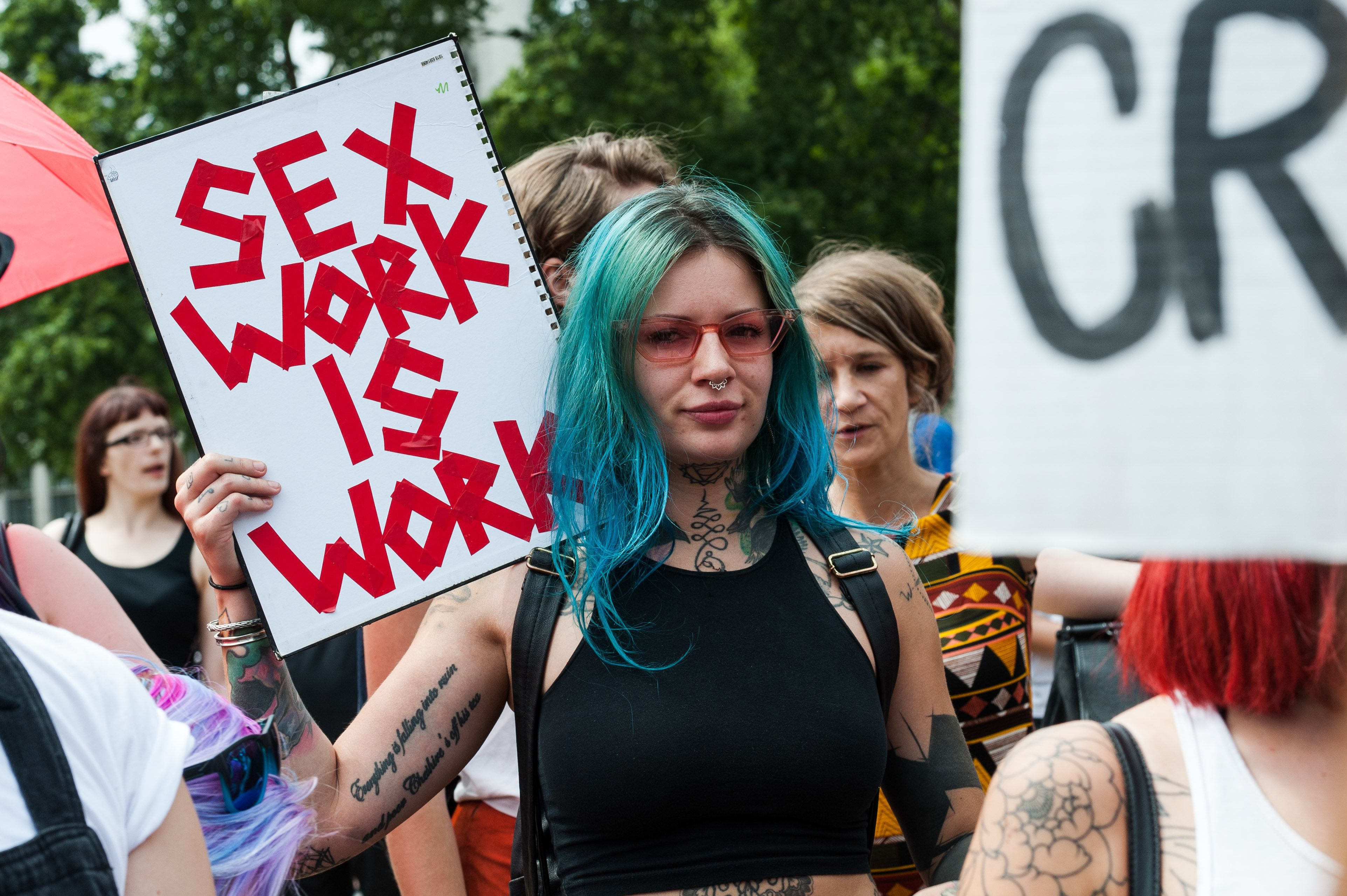 Sex workersprotest in central London on Wednesday. Parliament is considering legislation that targets websites. It's si