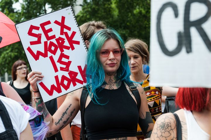 Sex workers protest in central London on Wednesday. Parliament is considering legislation that targets websites. It's si