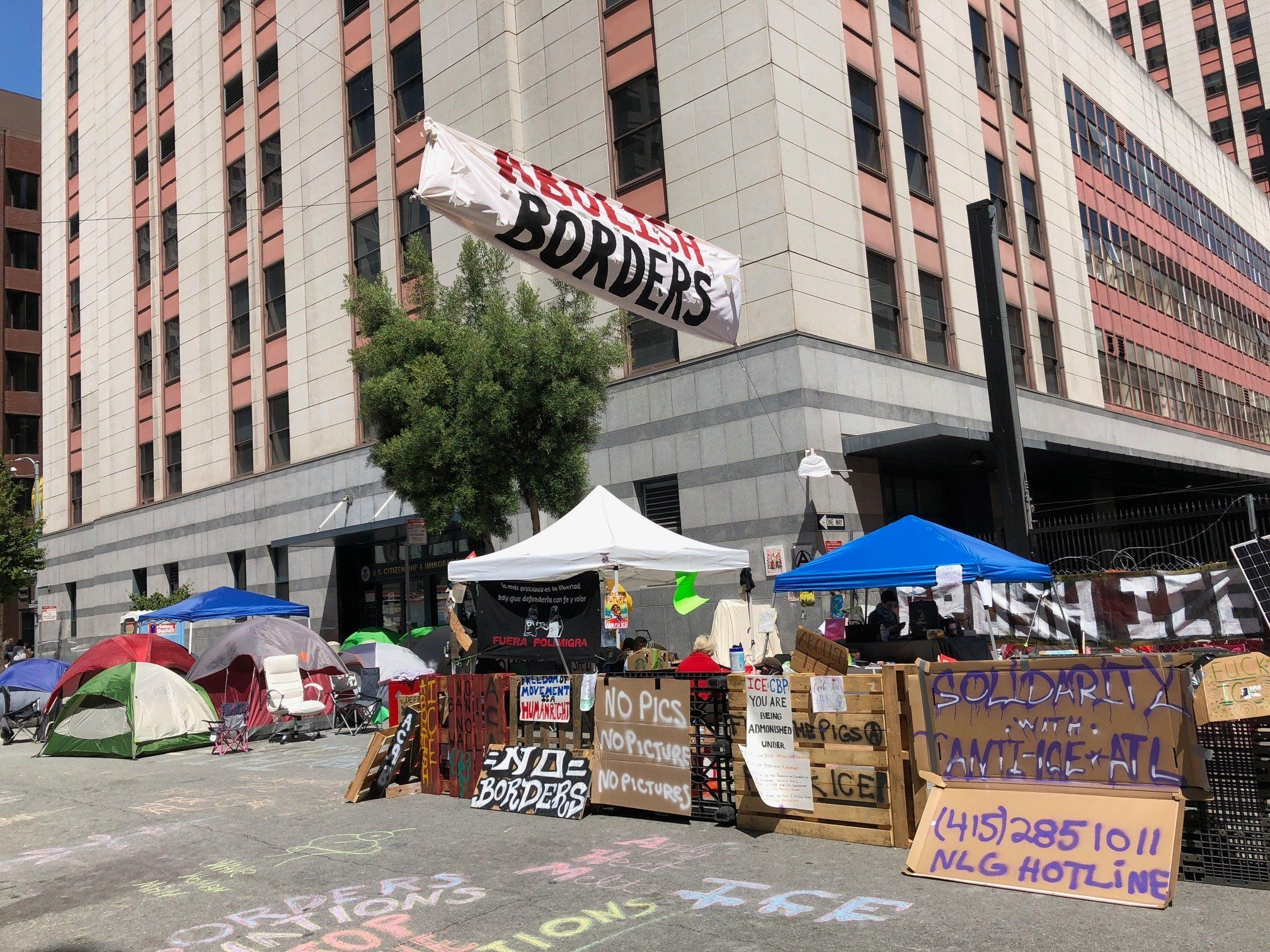 Protesters camped outside ICE offices in San Francisco CA - July 5 2018
