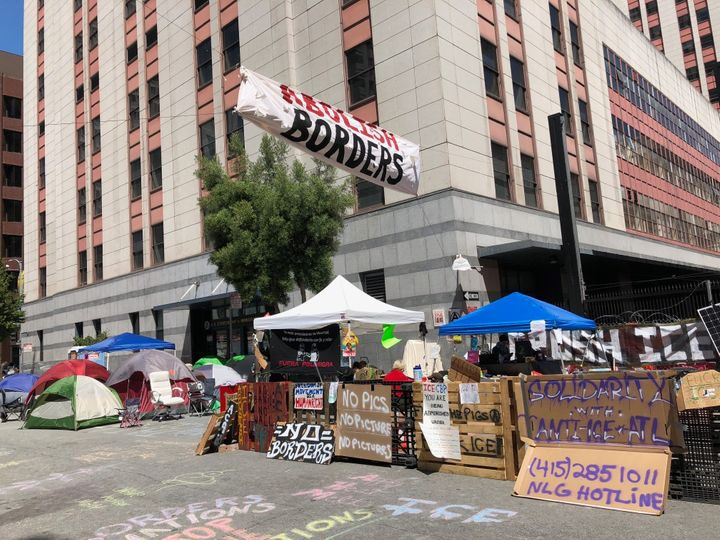 Protesters camped outside ICE offices in San Francisco on Thursday.