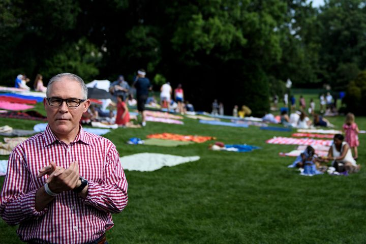Now former EPA Administrator Scott Pruitt at the White House during a Fourth of July picnic for military families. His disman