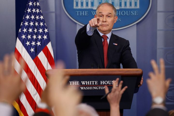 Pruitt takes questions from reporters in June 2017. He was known for shutting journalists out of crucial meetings.